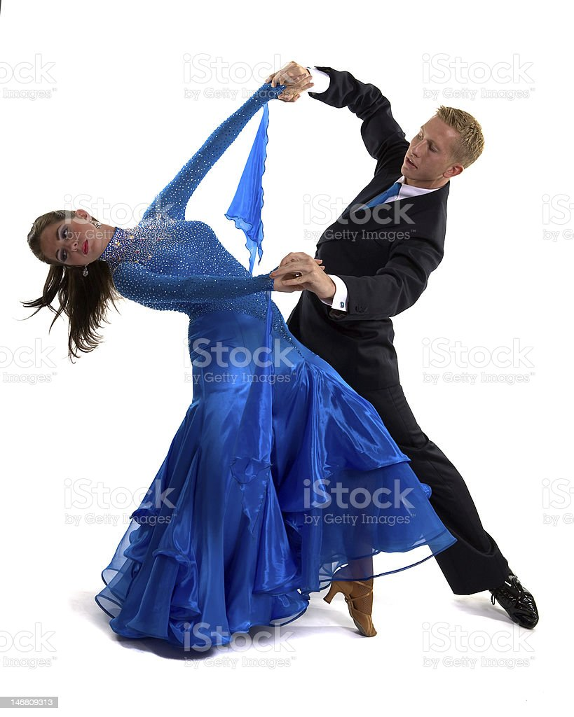Ballroom Dancers Blue royalty-free stock photo