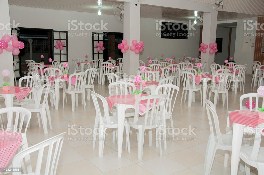 ballroom decorated with pink balloons stock photo