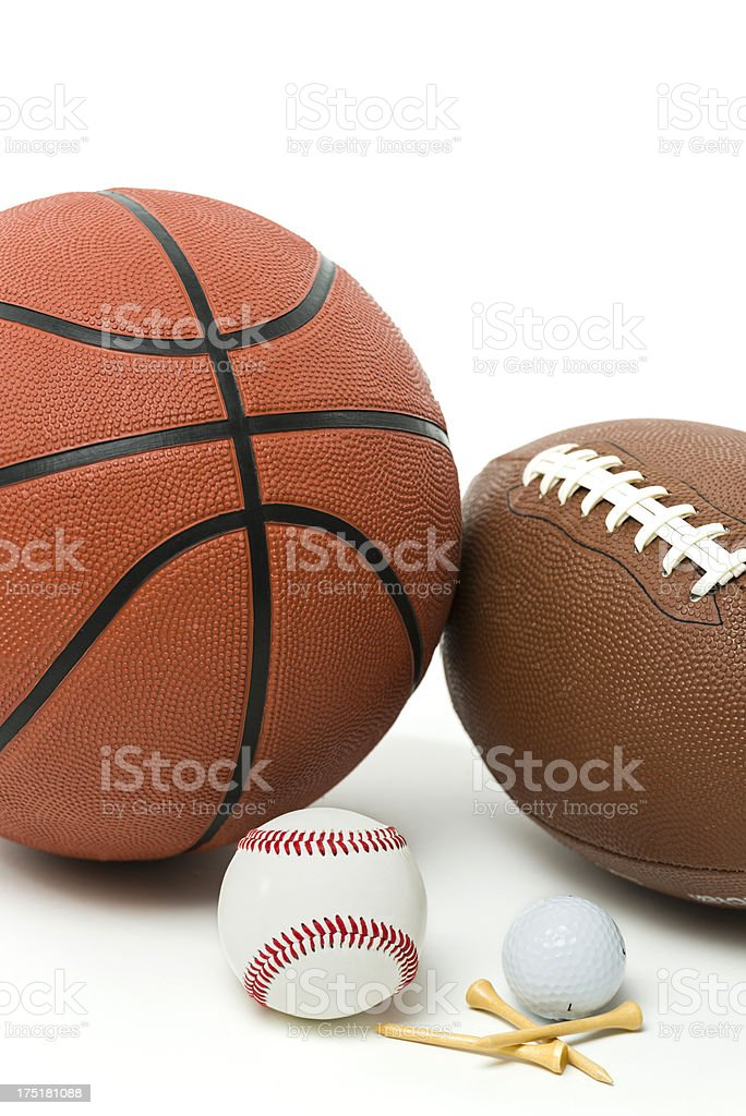 Balls and equipment from major sports royalty-free stock photo