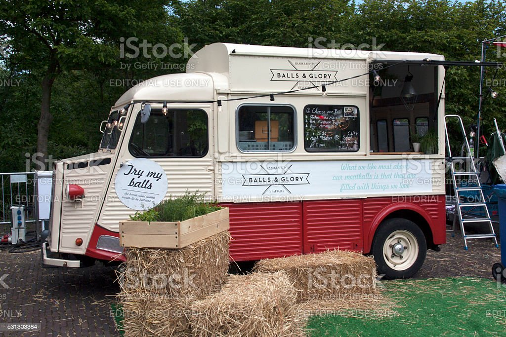 Balls and glory food truck in Amsterdam stock photo