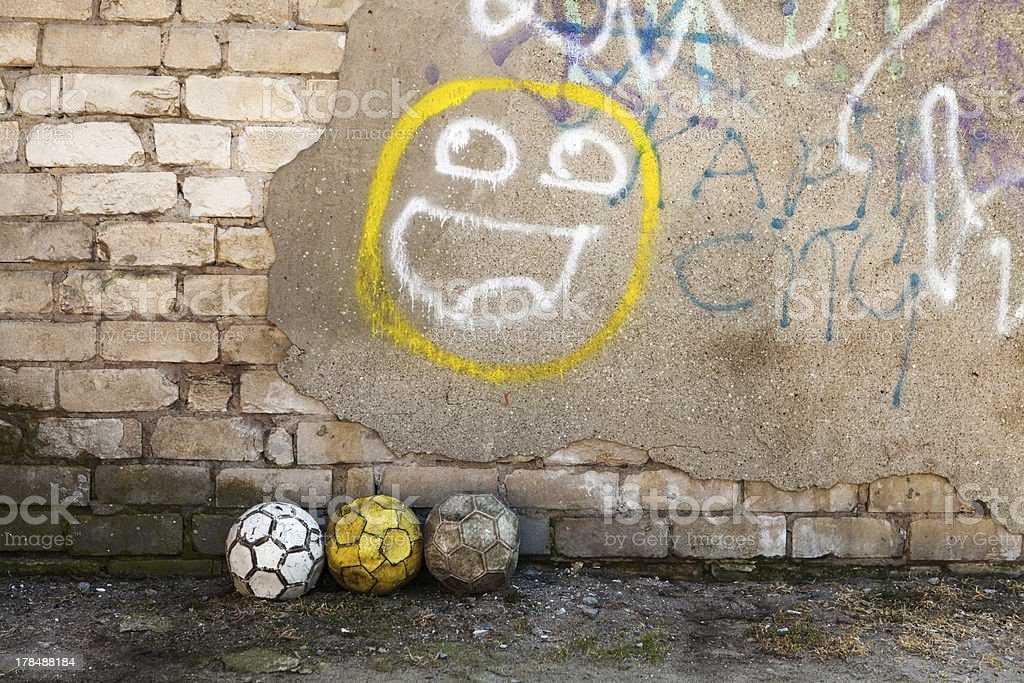Balls and graffiti royalty-free stock photo