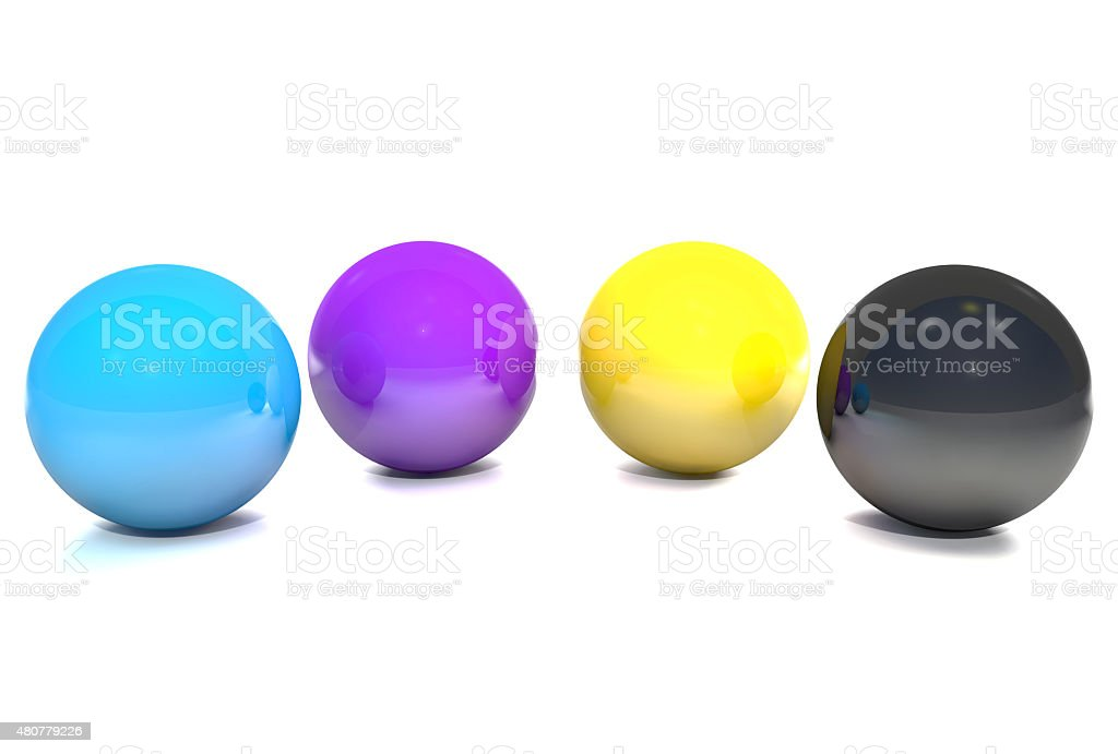Balls, colored cmyk. stock photo