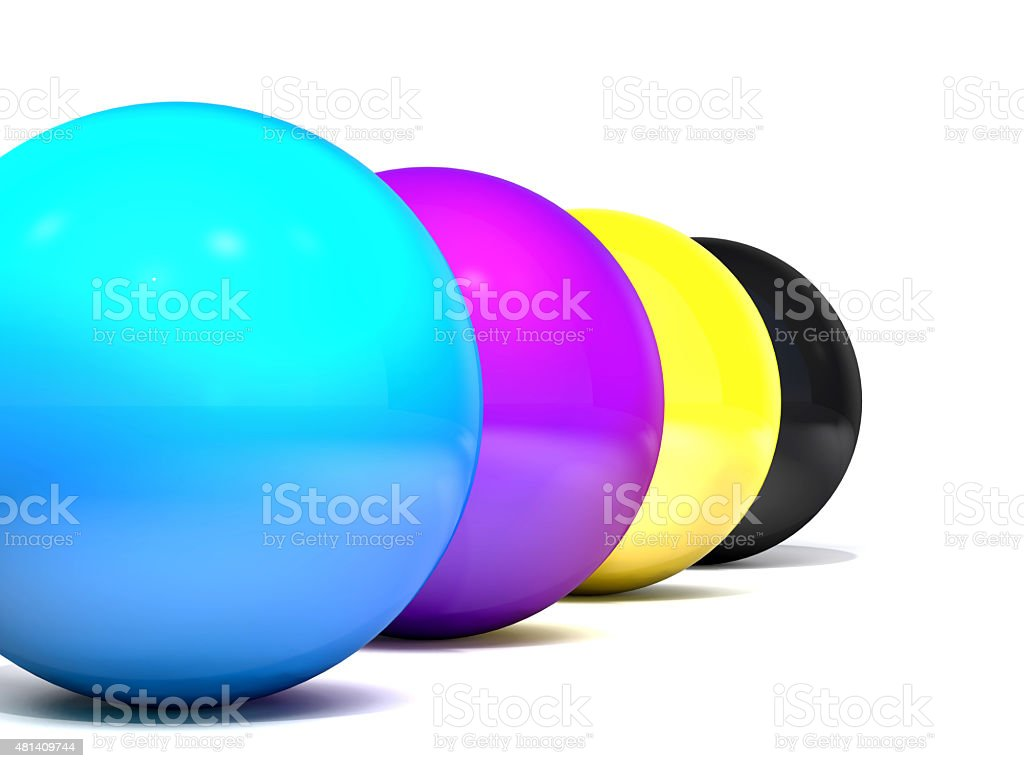 Balls colored cmyk. stock photo