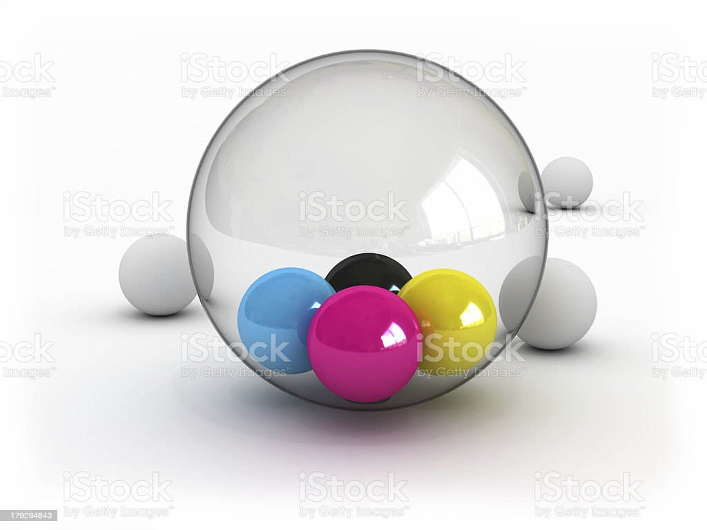 CMYK balls in glass sphere royalty-free stock photo
