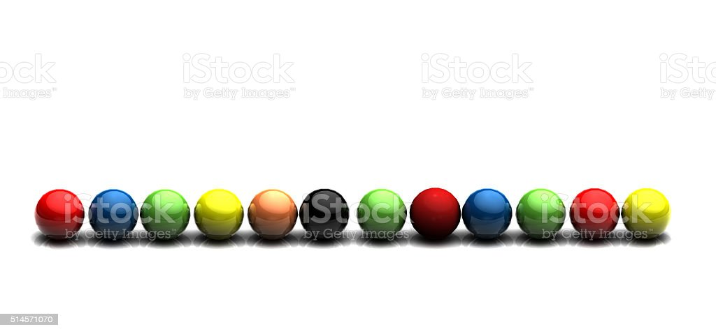 3D balls in line stock photo