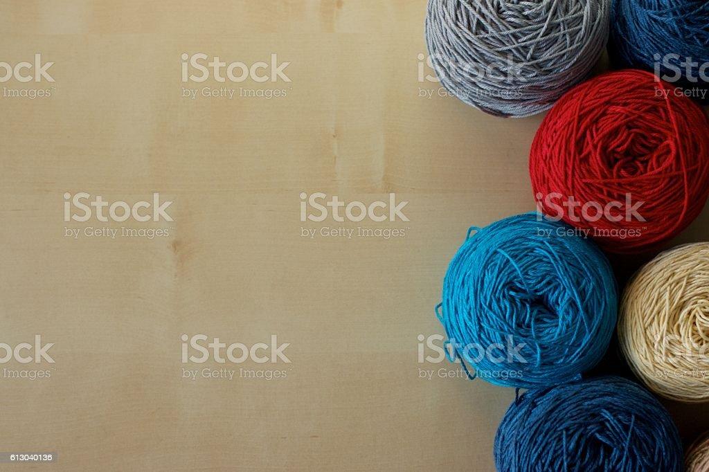 Balls of wool cotton silk yarn set stock photo