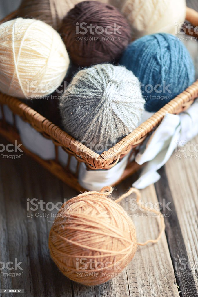 balls of wool in a basket on a wooden background stock photo