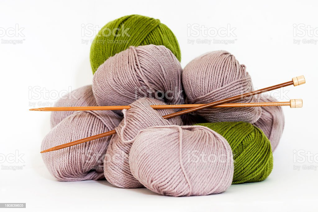 Balls of Wool with bamboo knitting needles against white background stock photo