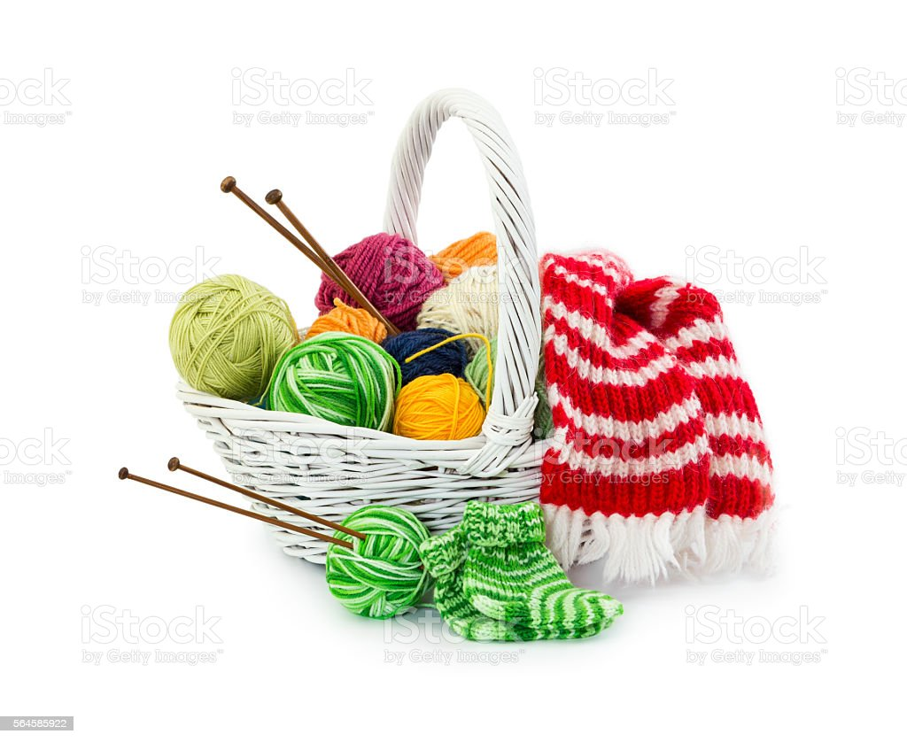 Balls of woolen threads for knitting in wicker basket stock photo