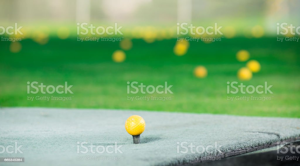 Balls scattered around course after game stock photo