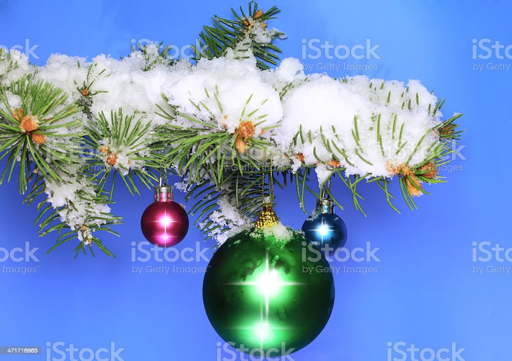 Balls with snow-covered fir branches. royalty-free stock photo