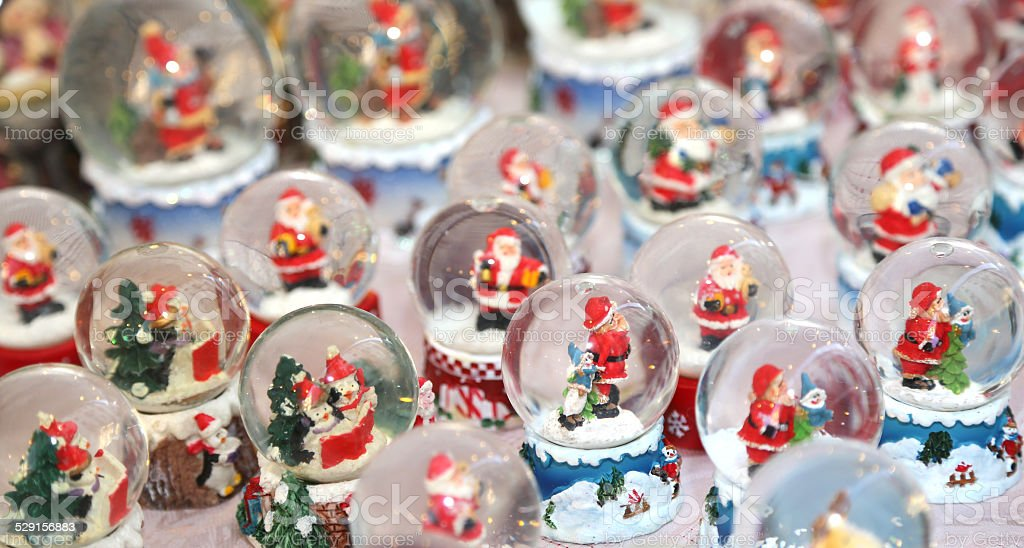 balls with water inside and Santa Claus stock photo