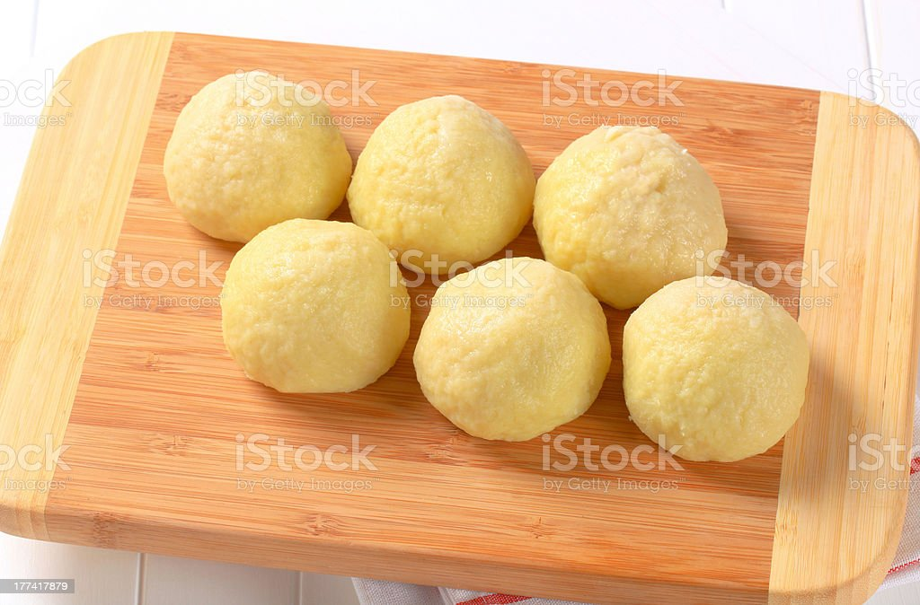 Ball-shaped potato dumplings stock photo