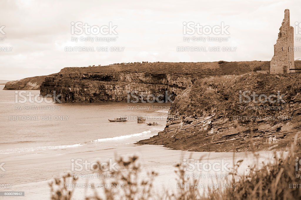 ballybunion sea and cliff rescue service launching stock photo
