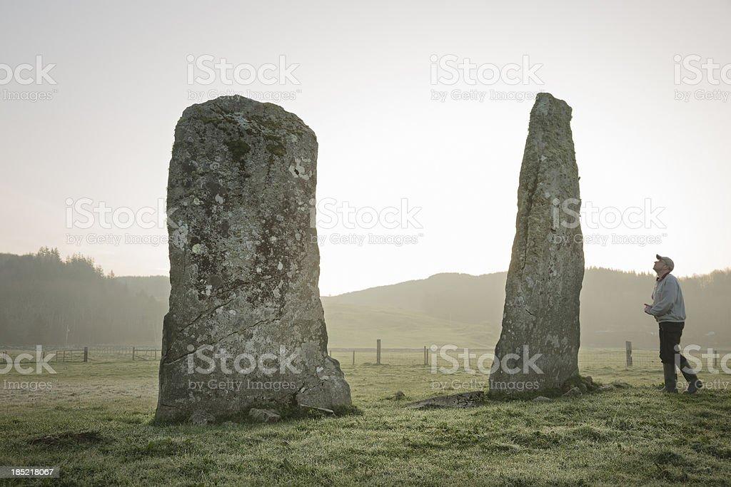 Ballymeanoch Standing Stones stock photo