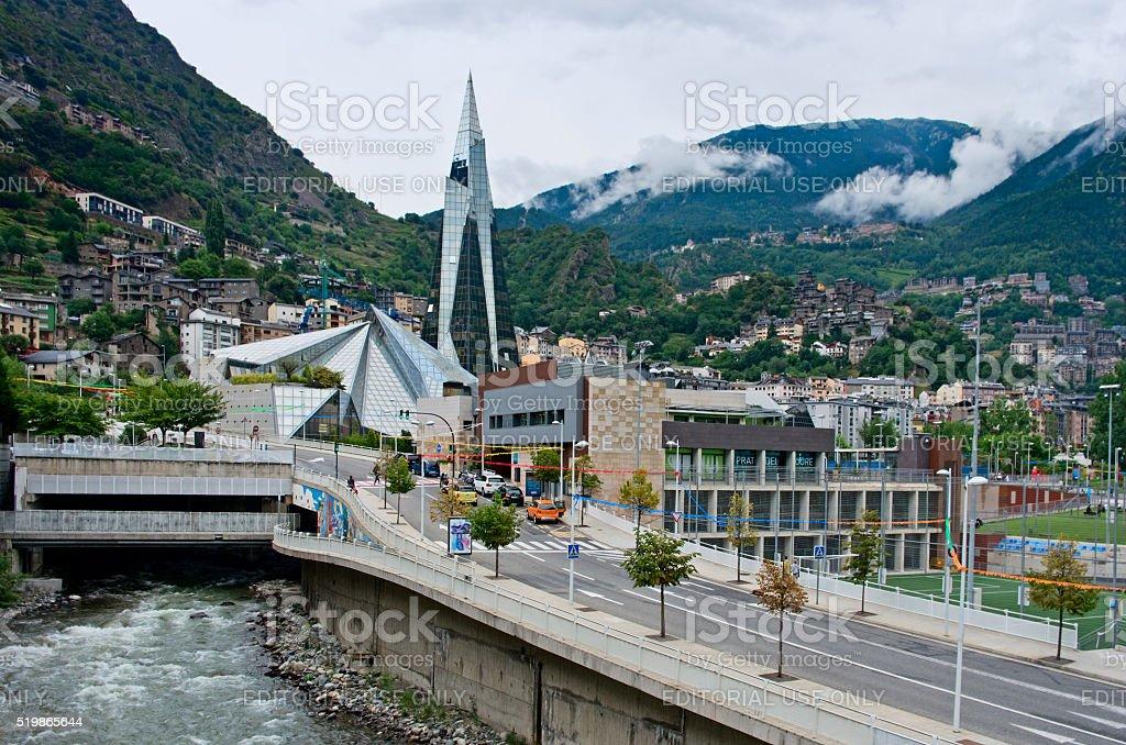 Balneary of Caldea in Escaldes, Andorra. stock photo
