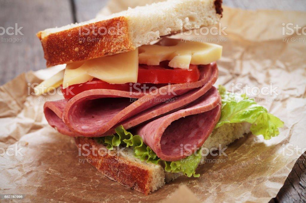 Baloney and cheese sandwich stock photo