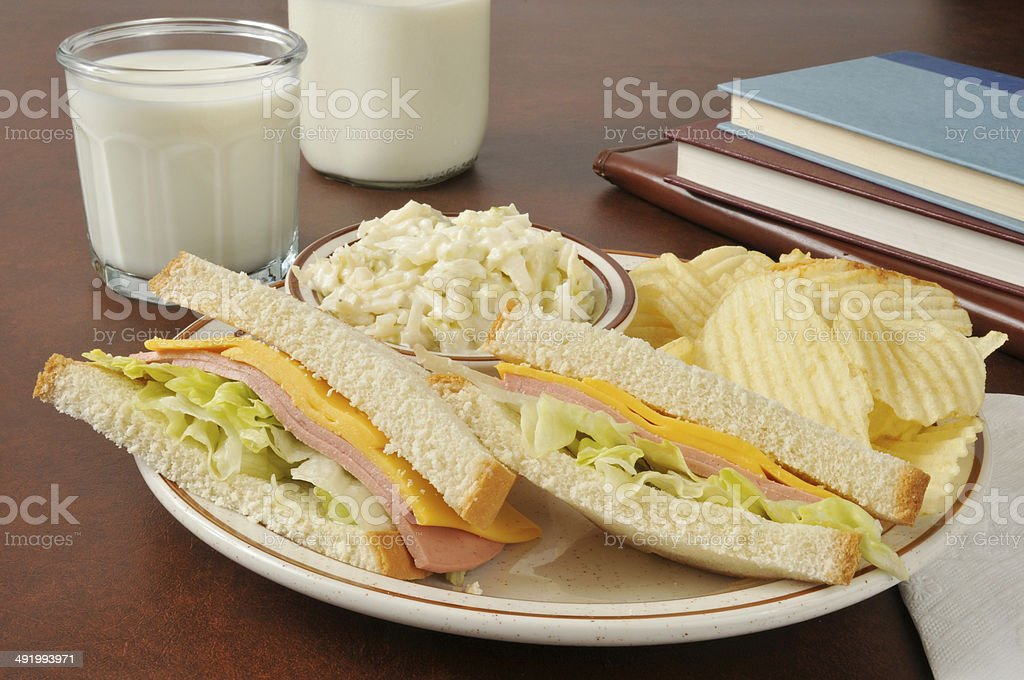 Baloney sandwich and coleslaw stock photo