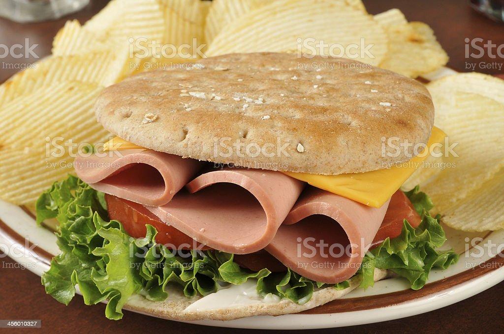 Baloney sandwich stock photo