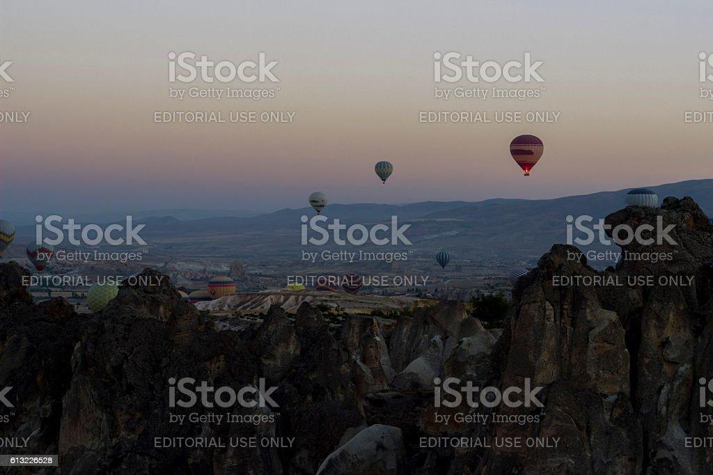 Baloons in Cappadocia stock photo