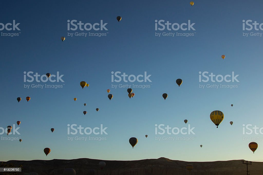 Baloons in sky stock photo