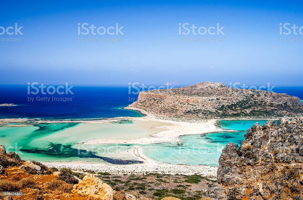 Balos lagoon on Crete island, Greece. stock photo