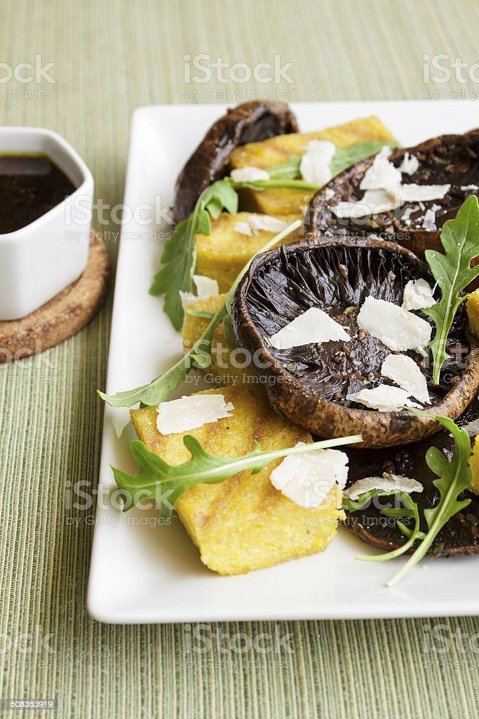 Balsamic Portobellos and Grilled Polenta stock photo