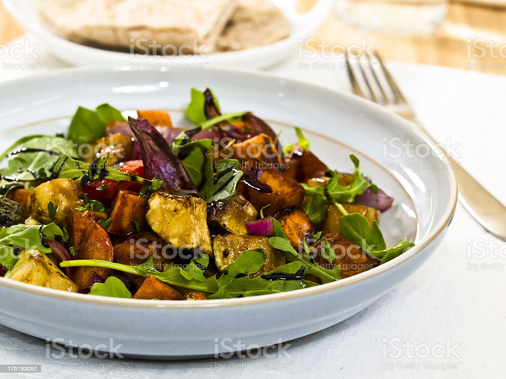 balsamic roasted vegetable salad stock photo