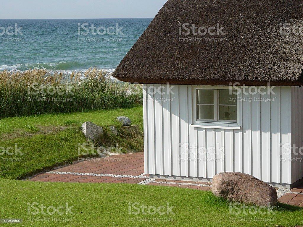 Baltic Barn Reetdach stock photo