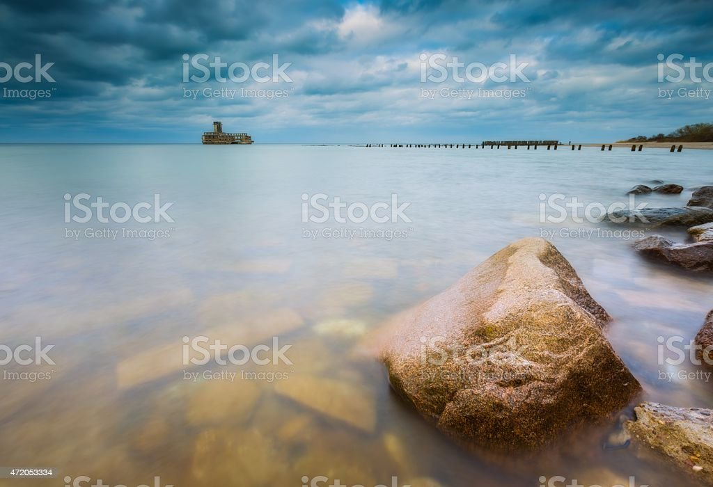 Baltic coast with old military buildings from world war II stock photo