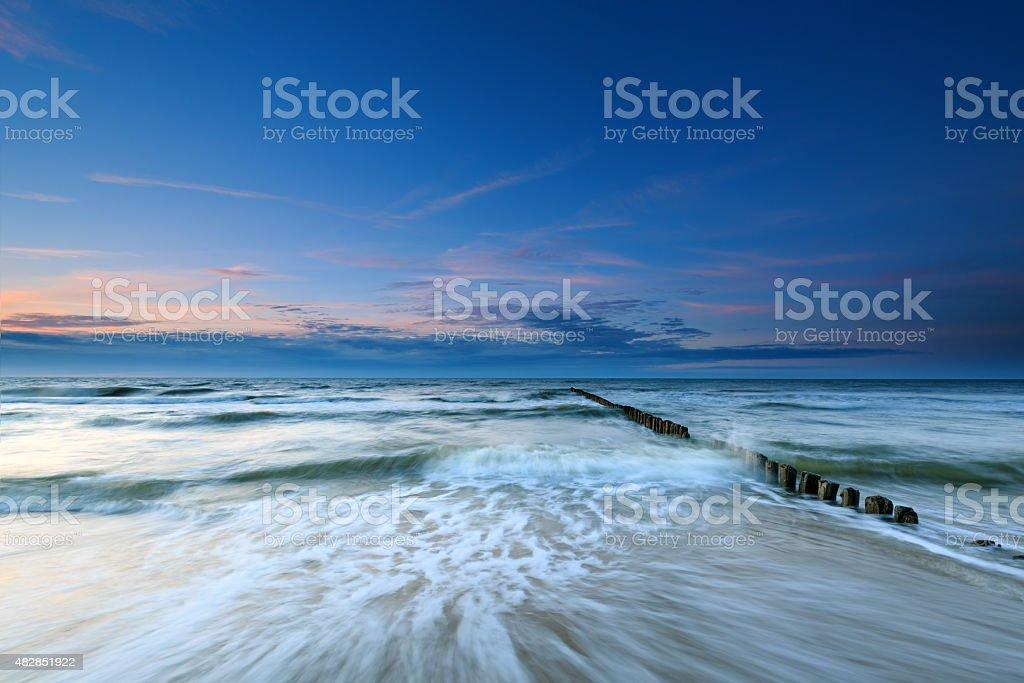 Baltic Sea and breakwater. Long exposure stock photo