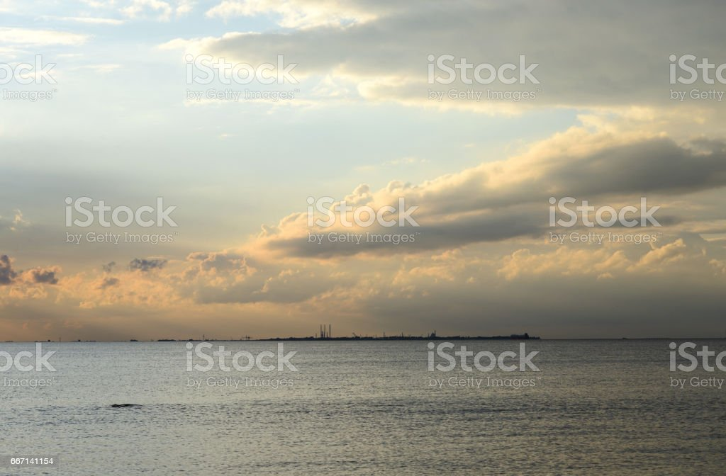 Baltic sea at sunset. stock photo