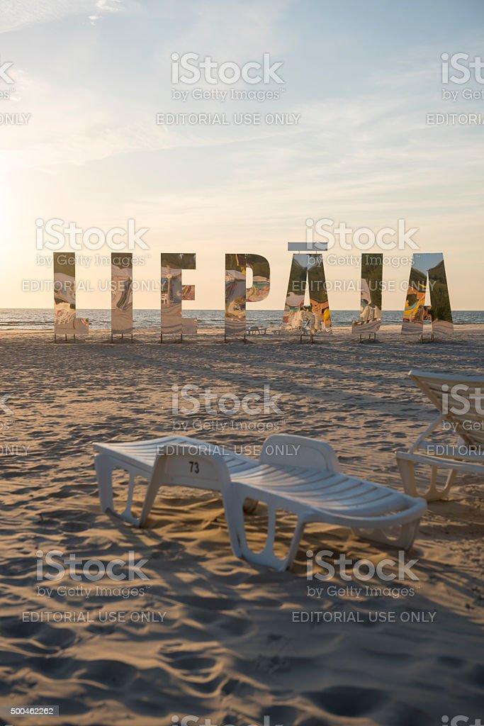 Baltic Sea beach in Liepaja, Latvia stock photo