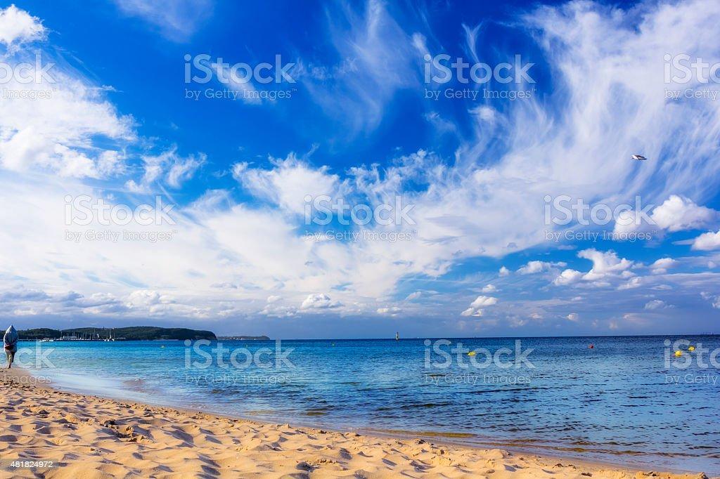 Baltic sea beach in Sopot, Poland stock photo