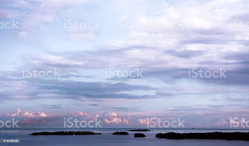 Baltic Sea Cloudy Skies from Espoo, Finland stock photo