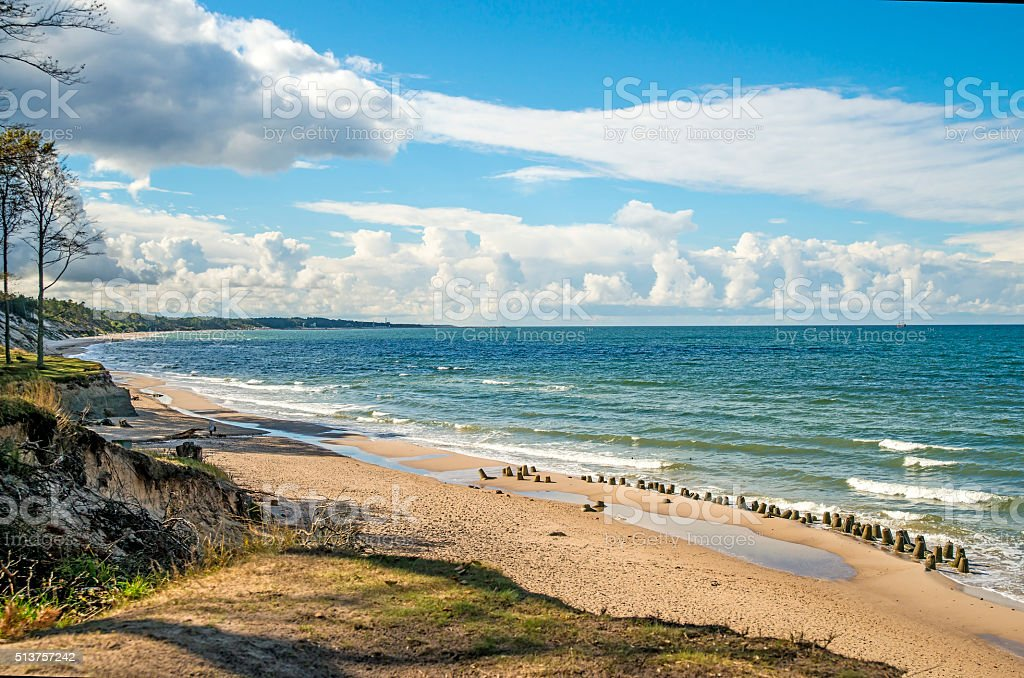Baltic Sea in Poland, beach of Orzechowo, Poland stock photo