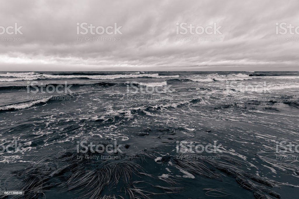 Baltic sea in stormy weather stock photo