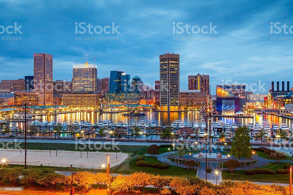 Baltimore at night stock photo