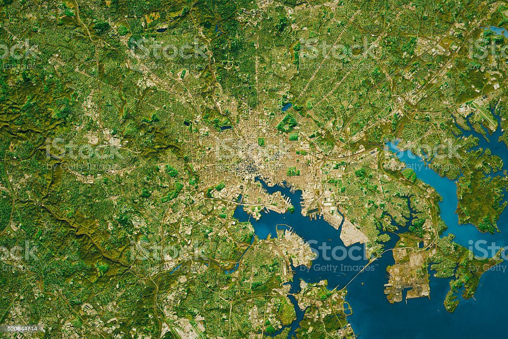 Baltimore City Topographic Map Natural Color stock photo