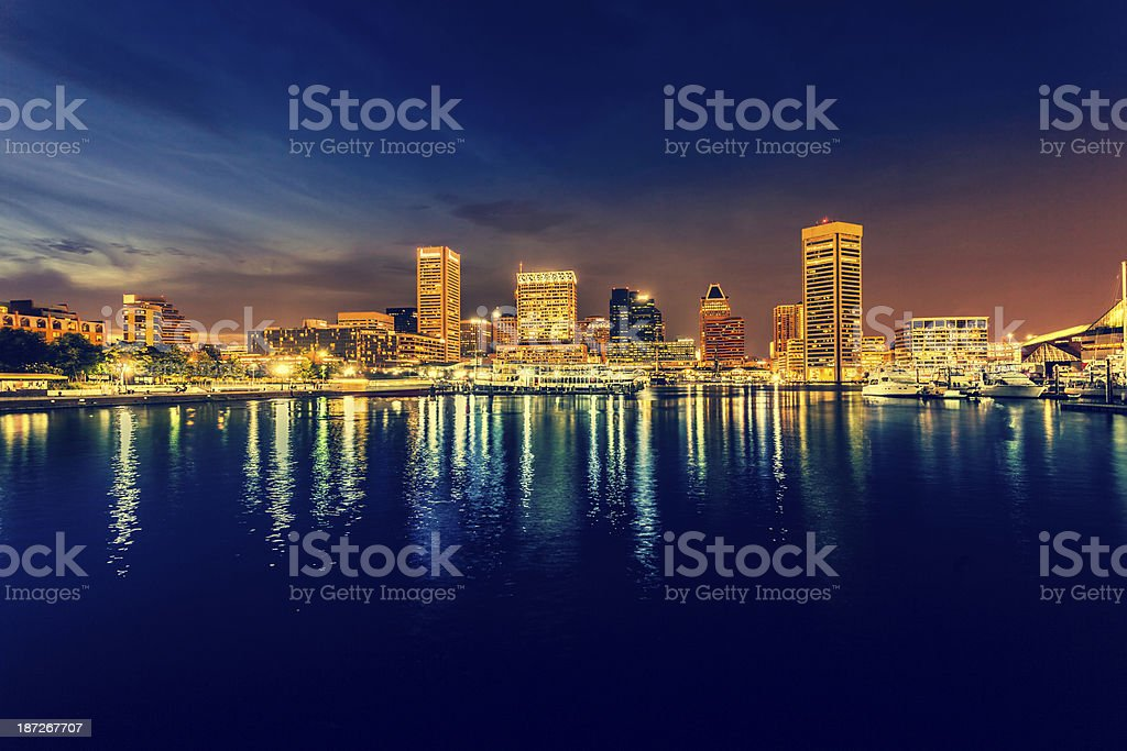 Baltimore Cityscape at Night, Maryland, USA stock photo