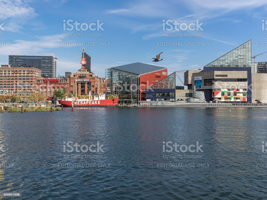 Baltimore Historic Inner Harbor across Water to Tourist Attractions stock photo