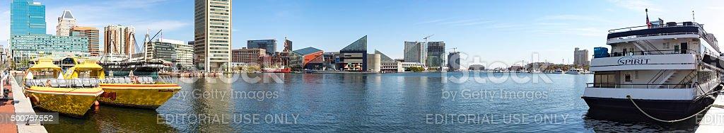 Baltimore Historic Inner Harbor across Water Tourist Attractions Panoramic stock photo