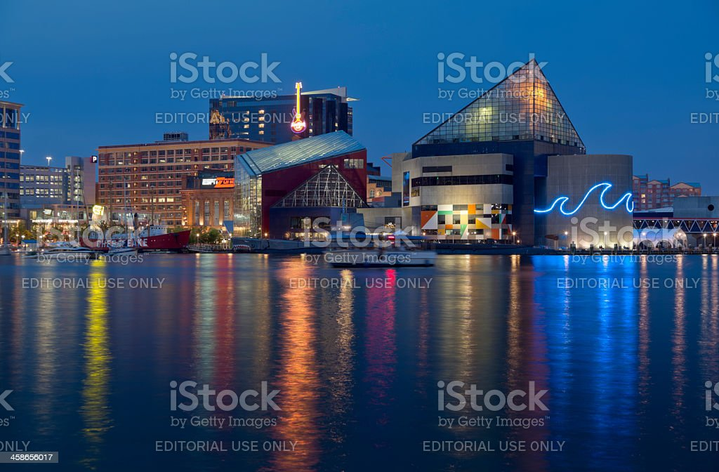 Baltimore Inner Harbor and National Aquarium stock photo