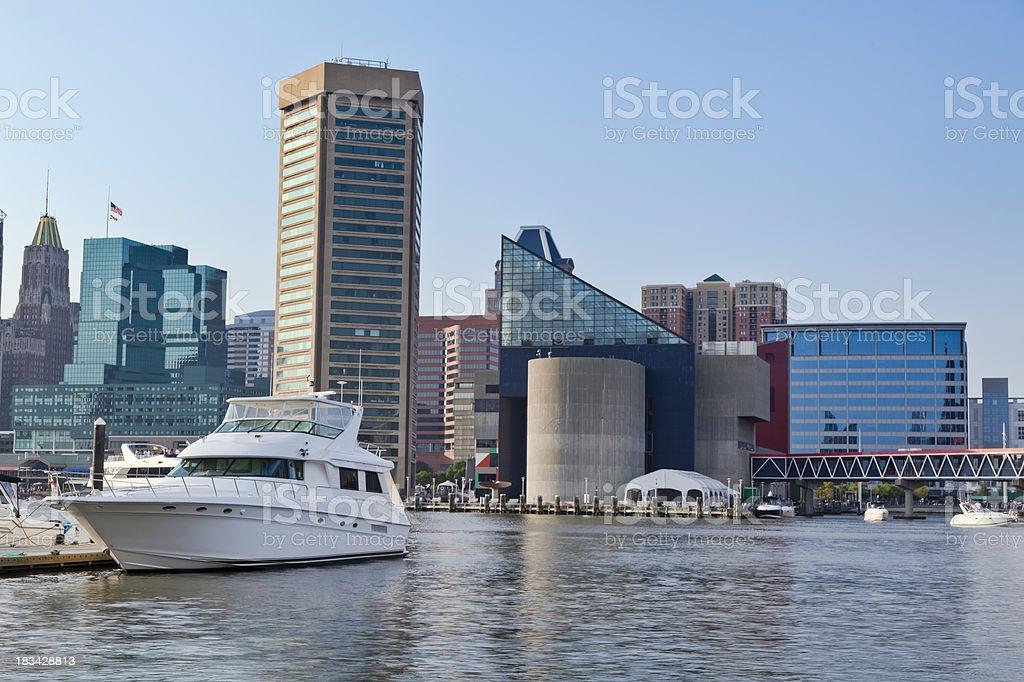 Baltimore Inner Harbor in Early Morning Sunshine royalty-free stock photo