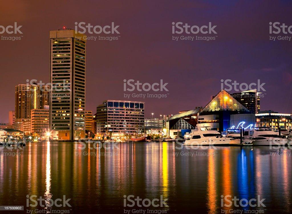 Baltimore Inner Harbor Night Scene stock photo