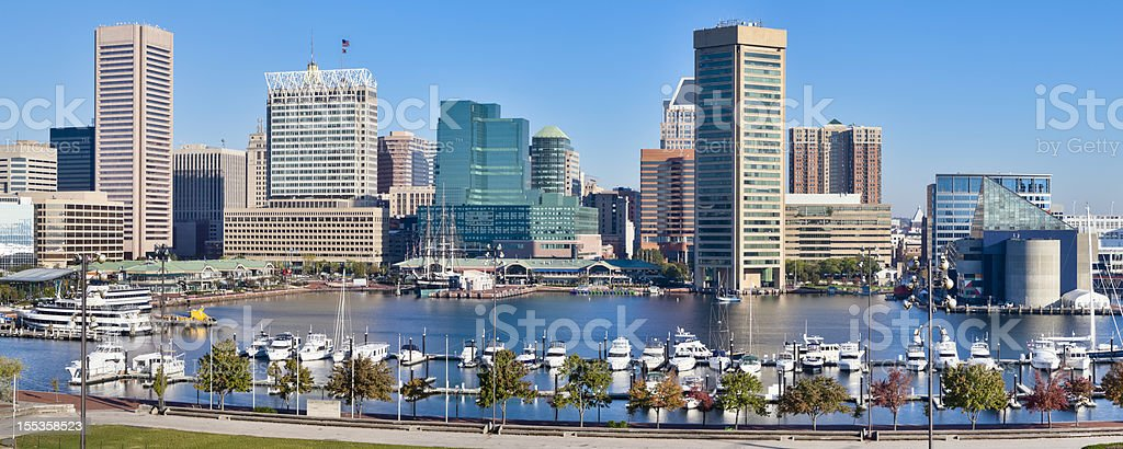 Baltimore Inner Harbor Skyline and Boats stock photo