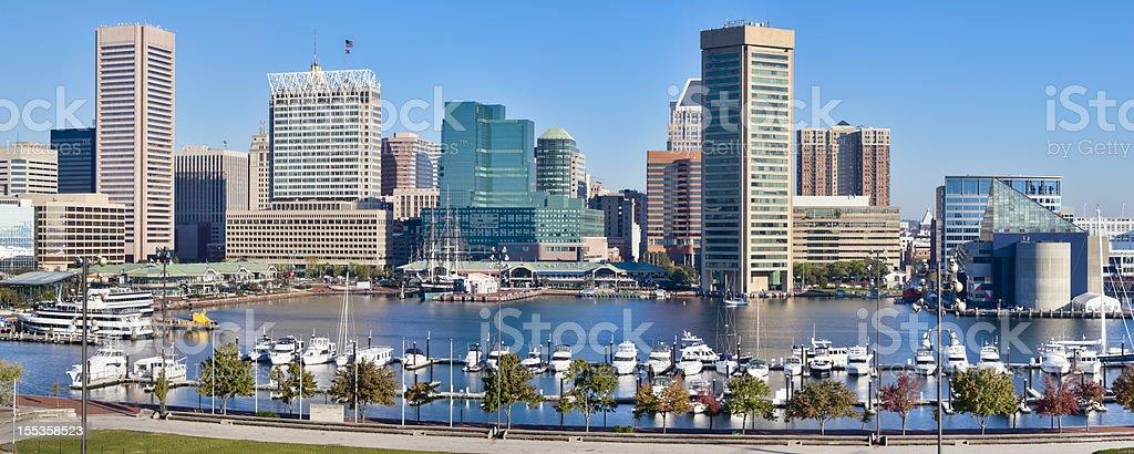 Baltimore Inner Harbor Skyline and Boats stock photo