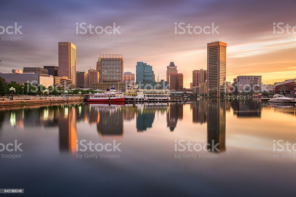 Baltimore Inner Harbor Skyline stock photo