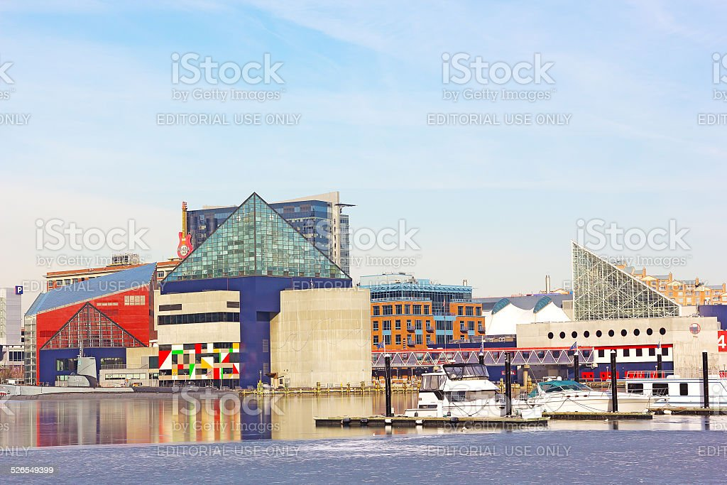 Baltimore Inner Harbor waterfront  in winter. stock photo
