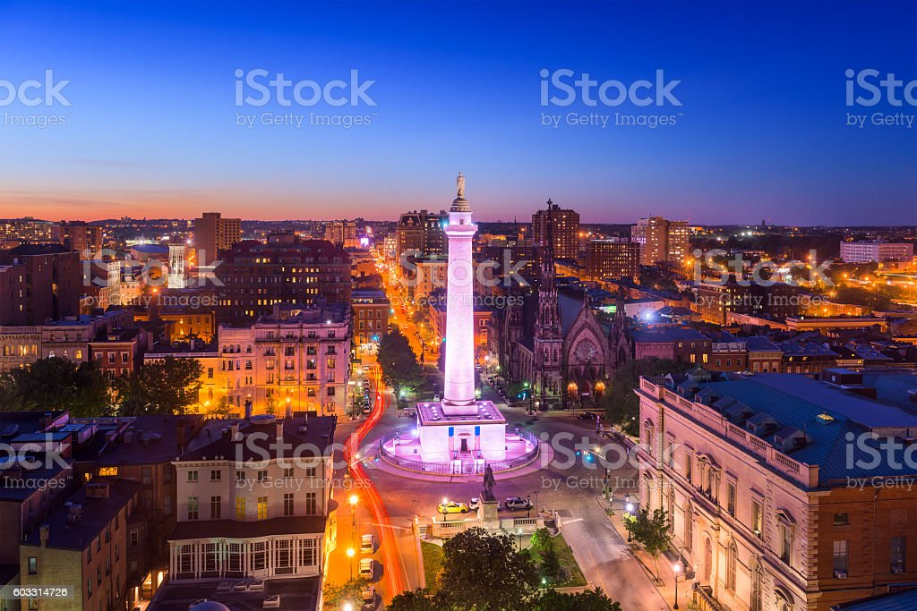 Baltimore, Maryland at Vernon Place stock photo